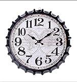 JHLP Reloj de Pared con Tapa de Botella 3D Grande de Metal Retro Vintage Relojes de Movimiento de Cuarzo silencioso para decoración de Oficina en casa