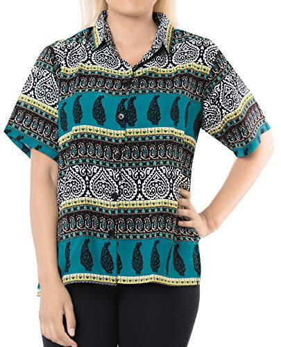 LA LEELA botón de la Blusa de la Playa de Las Mujeres Abajo Informal Camisa Hawaiana Azul del Trullo l