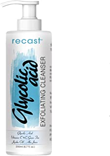 Recast Glycolic Acid Exfoliating Face Wash For Men & Women - Skin Lightening, Acne, Anti-Aging Face Wash With AHA For Wrinkles, Lines & Spots Reduction