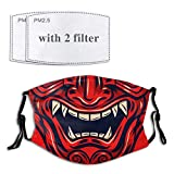 BOHONG Demon Evil Red Samurai Face Cover Mouth Mask with Adjustable Ear Straps Breathable Bandanas for Adult Teens Kids