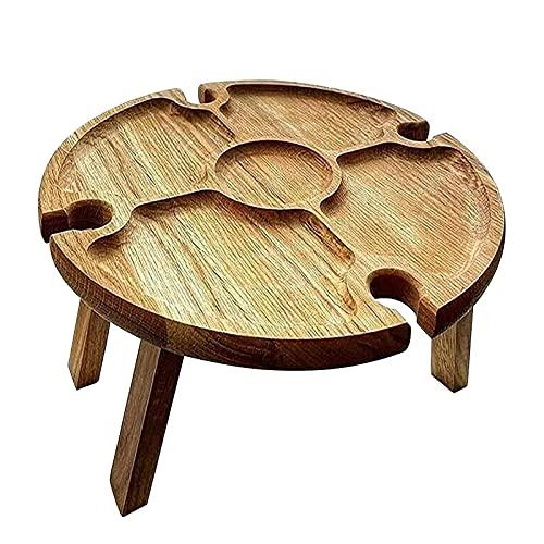 GKKXUE Tavolo da Picnic Pieghevole - tavola da Vino Portatile all'aperto -Cheese Vassoio con Bottiglia e Quattro Porta in Vetro Tavolo da Vino all'aperto per Giardino, tavolino da Spiaggia