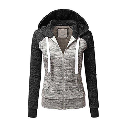 Newbestyle Jacke Damen Sweatjacke Hoodie Sweatshirt Pullover Oberteile Kapuzenpullover V Ausschnitt Patchwork Pulli mit Kordel und Zip (Dunkelgrau, 2X-Large)