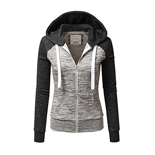 Newbestyle Jacke Damen Kapuzenpullover Strickjacke Pullover Sweatshirt Hoodies Kontrastfarbe Pulli Dunkelgrau Large