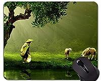 ジャーマンシェパードマウスパッド、犬とパーソナライズされた長方形のゲーミングマウスパッド