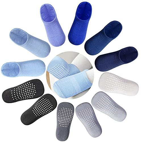 Lictin Babysocken 12 Paare Antirutschsocken Baby Baby Socken Jungen und Mädchen mit Anti Rutsch kuschel Knöchelsocken für 1-3 Jahre Rutschsocken Kinder Kindersocken Blau