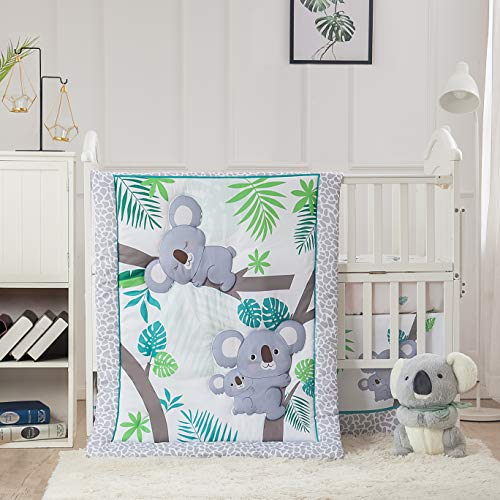 La Premura Baby Koala Nursery Crib Bedding Set, 3 Piece Standard Size Crib Set, Grey and Green, Unisex Nursey Bedding and Neutral Decor