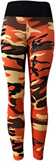 Women's Fashion Camo Workout Yoga Leggings Fitness Sports Gym Running Athletic Pants MITIY, S-XL (Orange, M)
