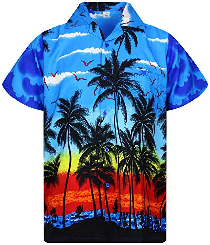 V.H.O Funky Hawaiian Shirt, Shortsleeve, Beach, Blue, M