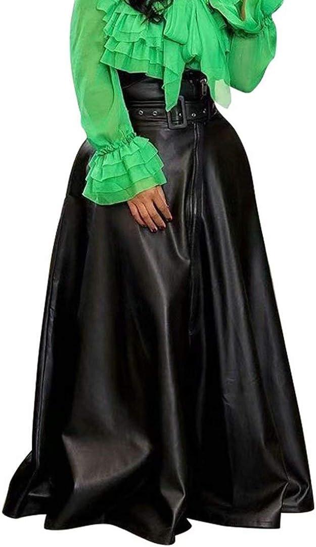 Women's Sexy Pu Leather High Waist Belted Irregular Midi Long A-Line Swing Skater Skirt S-3X