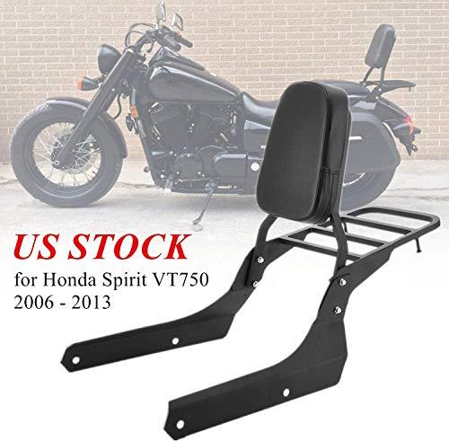 MotorFansClub Sissy Bar Backrest for Honda Spirit VT750 Luggage Rear Rack Passenger Back Seat Cushion for Honda C2 750 Shadow Phantom 2006-2013