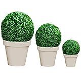 Mojawo 3er Set Künstliche Buchsbaumkugel Kunstpflanze Buchskugel Graskugel Buchsbaum Kugel Plastikpflanze innen außen Deko Ø 20/25/35cm