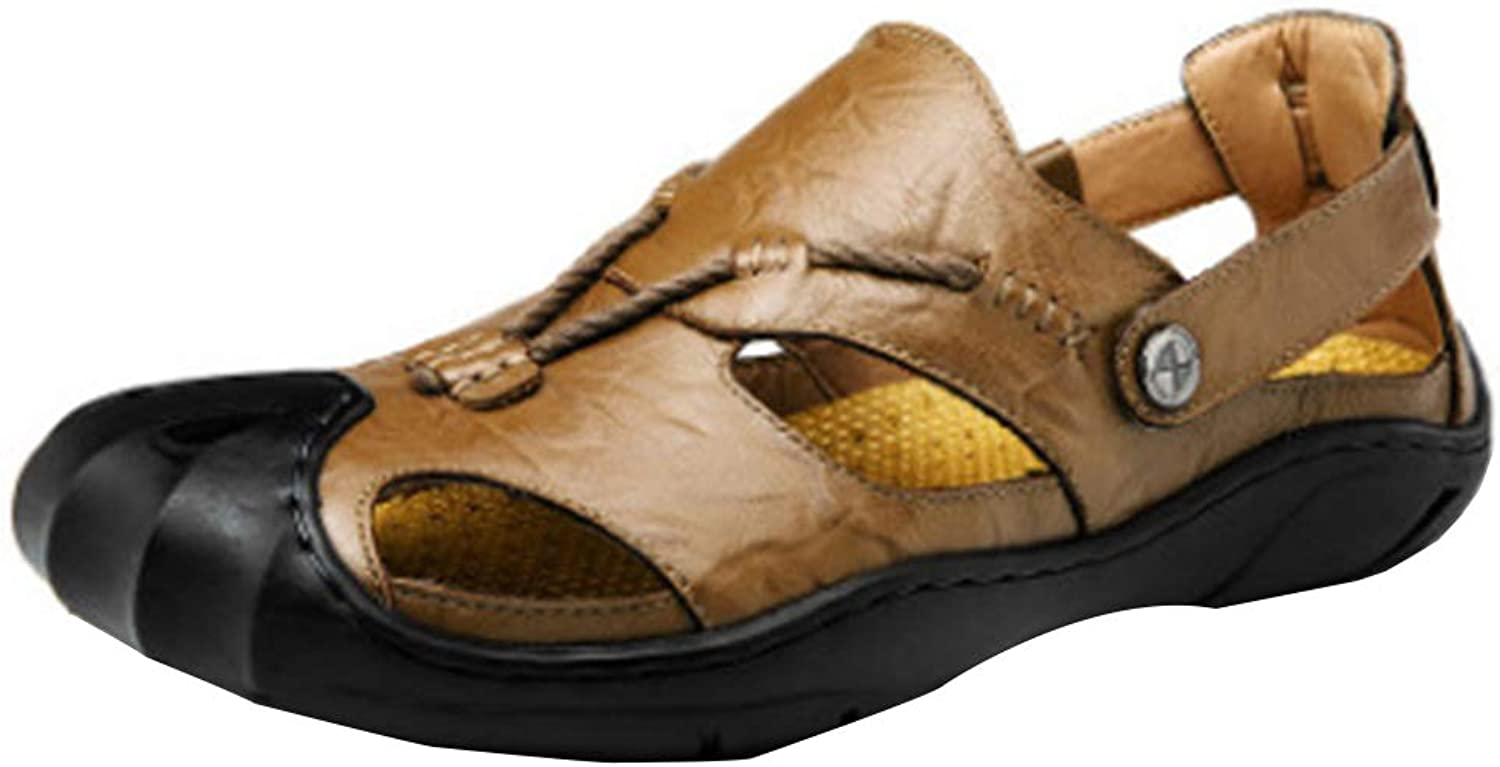 Summer large size toe sandals for men, Non-slip breathable leather outdoor casual sandals, Anti-collision men's Baotou beach water sandals, Suitable for hiking travel fishing