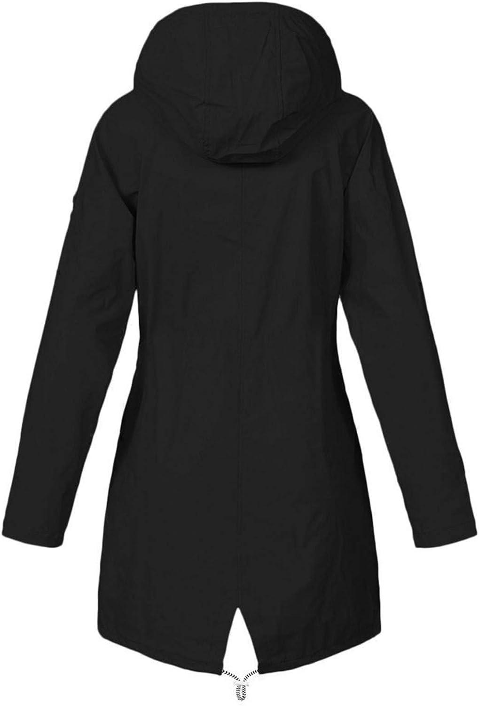 Women's Trench Jacket Warm Fuzzy Fleece Lined Outwear Lightweight Oversize Waterproof Active Outdoor Rain Coat