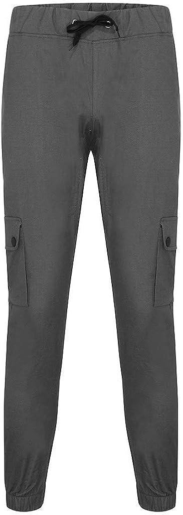 Pantalons De Survêtement Hommes Cargo Chino avec Vêtements de fête Un Pantalon Poches Latérales Hommes Slim Fit Élastiqué Pantalon Cargo À Long Cordon De Serrage Dunkelgrau