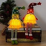 Decoraciones de gnomo navideño, 2 piezas de luces decorativas de gnomo sueco adornos de gnomo de Santa Tomte con luz LED muñeco de peluche de elfo para regalo fiesta de Navidad, decoración de la mesa