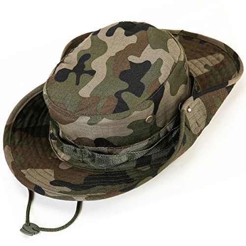 Kolumb Wide Brim Boonie Hat, Men & Women Top Camo Bucket Hats for Safari Military Beach…