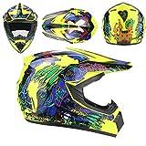 WEITY Casco moto integrale giovanile, casco motocross per uomini e donne adulti, scooter MX ATV, certificazione DOT (yellow,S)