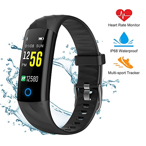 Fitness Tracker Smart Watch,IP68 Waterproof Activity Tracker Smart Watch with Heart Rate Blood Pressure Message Call Reminder Smartwatch for Women Men Kids,Bluetooth Touch Screen Sport Watch (Black)