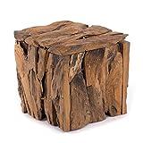 Cassapanca in legno di teak 30 | 30 x 30 x 30 cm (altezza x larghezza x profondità), in legno riciclato | Sgabello in legno naturale anticato, sgabello in legno in stile shabby