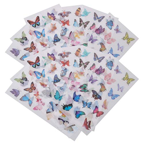 nuoshen 240 Pcs Butterfly Stickers, 12 Sheets Romantic Easy Self-Adhesive Note Paper Stickers with Multi Color Butterflies Decals for Kids Scarpbooking Crafts Letters Notebook
