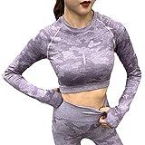 B/H Mujer Gym Fitness Leggings,2pcs / Set Traje Deportivo para Mujer, Top Corto de Fitness de Manga Larga + Leggings sin Costuras de Cintura Alta Energy-Purple_S
