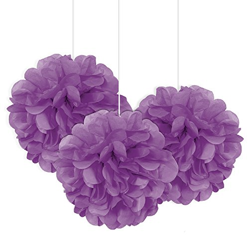 Unique Party 64222 - 23cm Small Purple Tissue Paper Pom Poms, Pack of 3