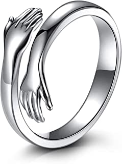 خاتم حضن، خاتم فضة ستيرلينج 925 على شكل حضن للنساء والبنات، خاتم بروميس رينج مفتوح على شكل حضن للرجال، خاتم للارتباط (قطعتين)