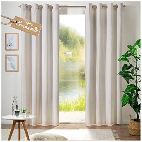 heimtexland ® Vorhang 100% Baumwolle Ösenschal Leinen Struktur Matt Blickdicht Lang HxB 280x140 cm Dekoschal Natur Typ692