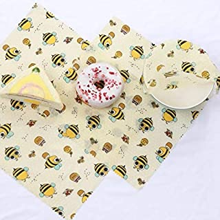 Beeswax Wraps Food Storage Sheets-Biodegradable/Eco-Friendly 100% Cotton Covered with Nature's Goodness-Non-Plastic Reusable Washable Kitchenware-3 Pack Set Small/Medium/Large Dish Sizes-YHoney