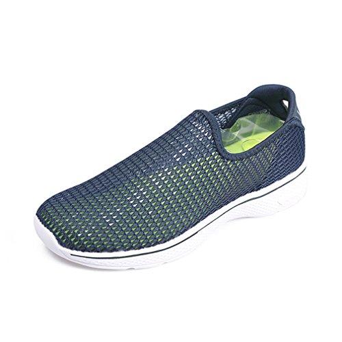 emansmoer Hommes Été Outdoor Hollow Out Respirant Plage Surf Chaussures Eau Chaussures Sports Casual Slip on Sandals (Taille 41, Bleu Foncé)