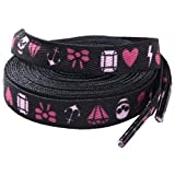 72' Long Black Laces with Pink Tattoo Flash 'Girly Things' Design from Sourpuss Clothing