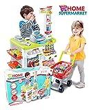 Super-Markt - Shop - Warenkorb, Kasse, Gewicht und andere Accessoires, Supermarkt mit Einkaufswagen,...