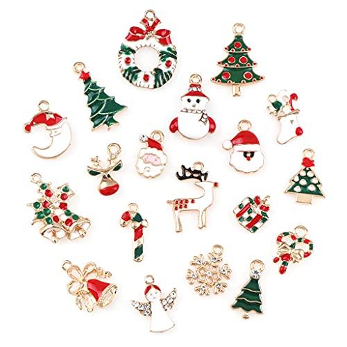 Lobounny 10 piezas de dijes de Navidad de Año Nuevo con colgante de Navidad, collar y pendientes, adornos