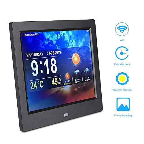 Hakeeta 8 inch digitale fotolijst TFT-scherm 4: 3 digitale HD-fotolijsten WiFi-video, muziek, foto, afstandsbediening, weersvoorspelling, kalender, tijd, ondersteuning USB/MP3/MP4., EU.