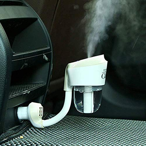 MIGHTYDUTY Car Diffuser, Car Humidifier, Portable Car Essential Oil Diffuser, Ultrasonic Cool Atomization Humidifier with 2 USB Charger, 12V Mini Travel Aromatherapy Essential Oil Diffuser (White)
