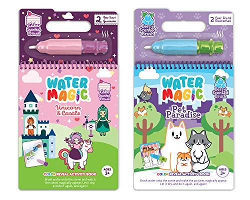 Scentco Water Magic - Scented Reusable Water Reveal Activity Books - No Mess, All Fun (Unicorn and Pet Paradise)