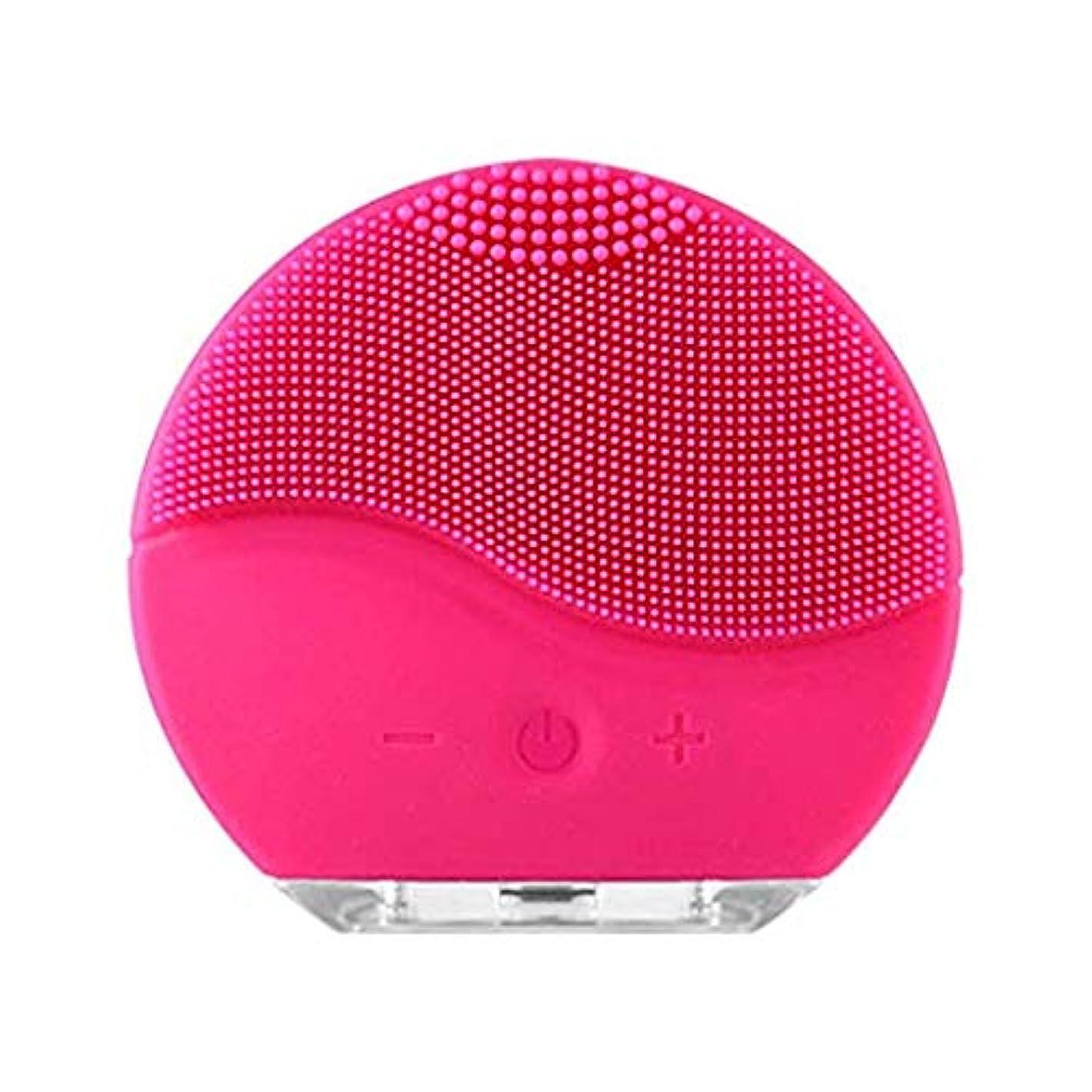 戻る強いますタワー流花洗顔ブラシ、防水洗顔機、ディープクレンジングスキンケアフェイスマッサージ用電動クレンジングシステム,Red