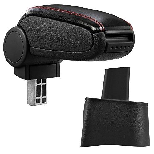 [pro.tec] Reposabrazos central – Apoyabrazos con compartimento – acolchado – polipiel – negro con costuras rojas