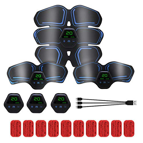 Maqiao ABS Trainer EMS Muscle Stimulator AB Stimulators 3 in 1 USB Rechargeable Abdominal Toning Belt for Men Women Tummy Arm Leg 10 Modes 20 Levels Wireless Portable Stomach Toner