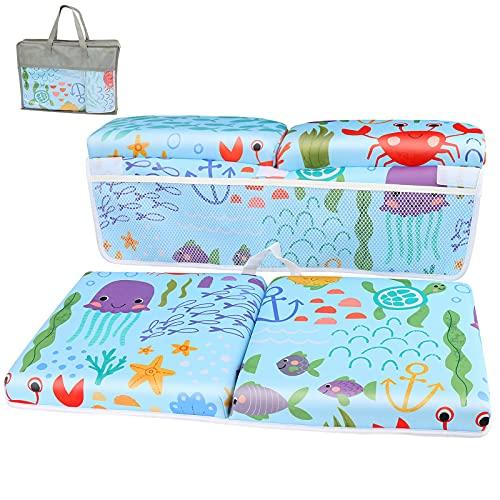 Brynnl Rodillero de baño para bebés con Juego de Almohadillas para el Codo, Comfort Kneeler Mat Baño para niños Estera para bañera de Rodillas Plegable