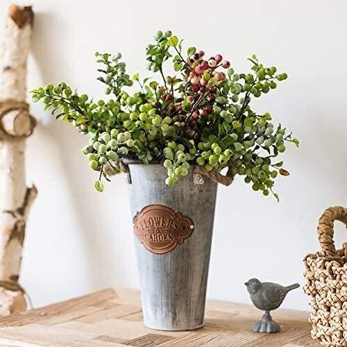 YYhkeby Alto Barril Shabby Chic Jarrón Metal Jarrones para Flores Estilo francés Jarra rústica Pequeña Planta Decoración de jardín 28 * 17cm Jialele