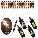 Moritz - Juego de 15 antorchas de bambú, 60 cm, color marrón oscuro + 4 x 1000 ml de aceite para lámpara de jardín