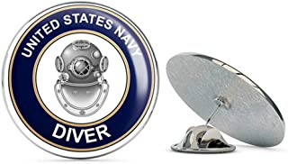 US Navy Diver ND Military Veteran USA Pride Served Gift Metal 0.75