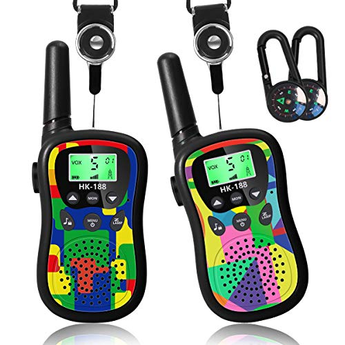 Walkie Talkies for Kids 22 Channels 2 Way Radio Kids Toys with Backlit LCD & Flashlight, Best Gifts Toys for 3-12 Year Old, Up to 3 Miles Range for Outside Adventures - 2 Pack