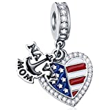 Dangle NAVY MOM Anchor and Enamel American Flag Heart Charms with CZ, 925 Sterling Silver I Love USA Engraved Pendant fits Pandora Women Necklace/Bracelet, Gift for Mothers Day/Christmas