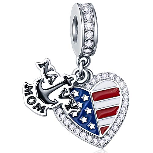 EMOSTAR Dangle Navy MOM Anchor and Enamel American Flag Heart Charms with CZ, 925 Sterling Silver I Love USA Engraved Pendant fits Pandora Women Necklace/Bracelet, Gift for Mothers Day/Christmas