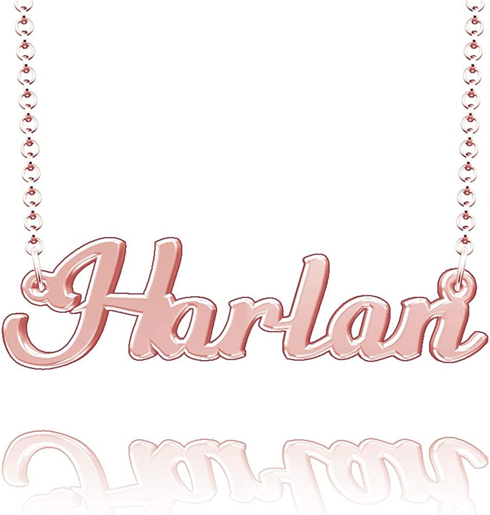 LoEnMe Jewelry Customized Harlan Name Necklace Stainless Steel Plated Custom Made of Last Name Gift for Family