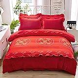Funda nordica franela,Versión mejorada de ropa de cama de 1,8 m de forro polar de coral de doble cara de franela de cuatro piezas engrosada en invierno en 3D-Color_Juego de cama 2.0 de cuatro piezas