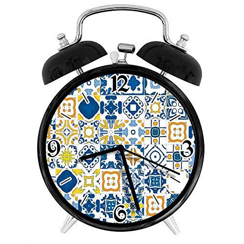 77 xiochgzish Digitaler Wecker Mosaik Portugiesisch Azulejo Mittelmeer Arabesque Effekt Senf Geeignet für Büro Schlafzimmer Studie