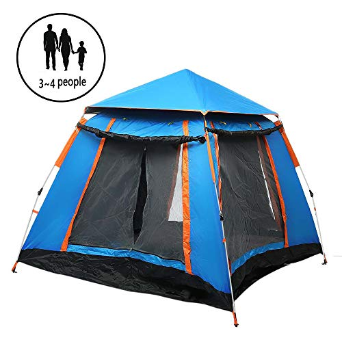 ZYLEDW Camping Tents 3-4 Person, Automatic Double Layer Waterproof Hydraulic Tent with 2 Doors Ventilated Mesh Window, 3 Seasons, Easy SetUp, for Outdoor